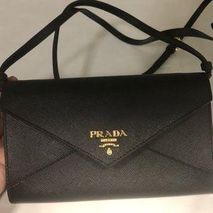 Prada Saffiano Envelope Crossbody Wallet